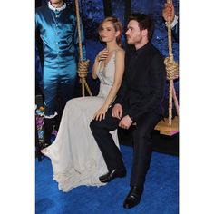 Lily James (Cinderella) and Richard Madden (Prince Kit) ♥ notice the knee touch..  Awww, so cute.