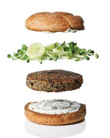 Veggie Burgers ---- These veggie burgers get their rich, earthy flavor from mushrooms and nutty quinoa, and are topped with sharp radish sprouts and cool cucumbers. Greek yogurt is a zesty Mediterranean replacement for ketchup.