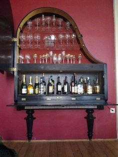 Piano Bar - I've always wanted a baby grand!   Clever!