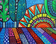 ORIGINAL Landscape Painting Canvas Heather Galler Trees Flowers Mexican Folk art