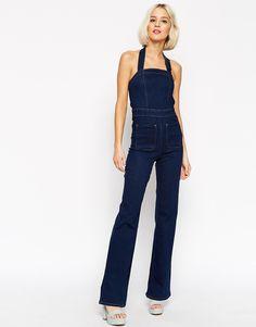 Bild 1 von ASOS – Jeans-Latzhose mit Schlag in Clean Indigo