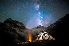 It's not often we get to see mountain biking, the milky way, and a lit up tent all in one shot. This = epicness.