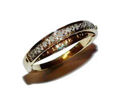 Hallmarked 9ct Yellow Gold & 0.10ct Diamond  I LOVE YOU  Eternity Ring-UK Size L