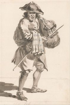 c. 1759 - Paul Sandby - London Cries- A Man with a Bundle, Old Clothes