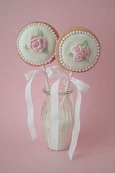 Rose fondant cookie lollys | Flickr - Photo Sharing!