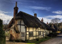 Ancient thatched cottages, Wherwell, Hampshire