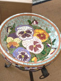 Mosaic pansy birdbath