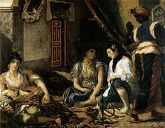 The Women of Algiers in their Apartment - Eugene Delacroix - Completion Date:1834  -  caused a sensation when it was displayed at the Paris Salon on 1834. -- for its sexual connotations & for the portrayal of opium, which at the time was only included of paintings of prostitutes. This painting was also notable because it was generally difficult to paint Muslim women, who were covered head to toe, but Delacroix was secretly able to sketch some during his travels to Morocco in 1832.