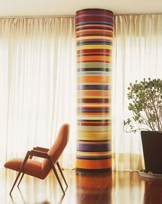 Do you have an unsightly column or post that you don't know what to do with? painted column.