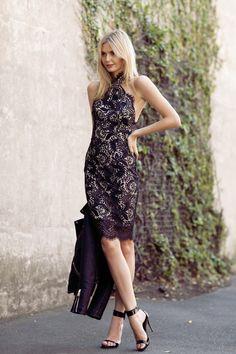 Pretty black lace dress...like the scallop edge around the high neck