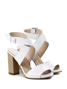 Miss Martina - Sandalo alto - Donna - Sandalo alto in pelle vintage con cinturino alla caviglia ad incrocio e suola in cuoio. Tacco 110, platform 20 con battuta 90. - BIANCO - € 175.00