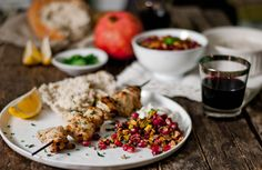 Turkish Spiced Kebabs with Pistachio/Pomegranate Relish and Tahini Yogurt