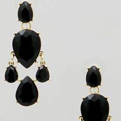 black crystal teardrop earrings Wardrobe essential Jewelry Earrings