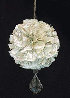 Shabby Chic Paper Pomander.  Repurpose old book pages for this holiday ornament or home accent.