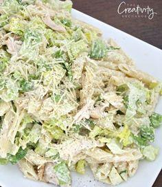 Chicken Caesar Pasta Salad Recipe with Romaine and Penne Pasta.