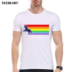 New Arrivals Vintage Unicorn Rainbow Printed t shirt for man Short Sleeve Fashion Tees