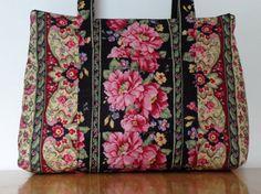 Black+Pink+Flowers+Burgundy+Tan+Green+Stripe+Print+Quilted+Purse