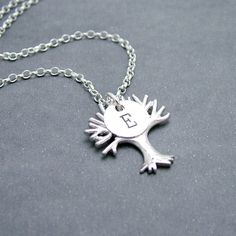 Personalized Silver Tree Necklace Sterling Silver by RoseAndRaven, $32.00