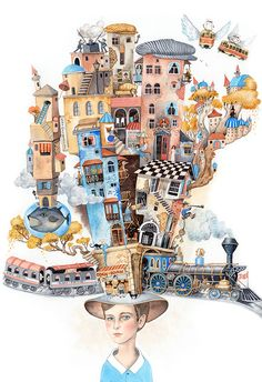 Sveta Dorosheva. Illustrations to an interview in the BAKU magazine, Azerbaijan. The interview is mostly dedicated to the person's childhood and memories of the city.