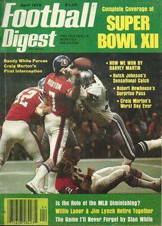 Football Digest April 1978, with quarterback CRAIG MORTON and left guard TOM GLASSIC.
