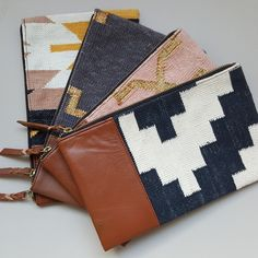 Handmade Dhurrie Clutch - Bonam Home Dhurrie Rugs, Blush And Gold, Gold Material, Clay Earrings, Handmade Bags, Earrings Handmade, Soft Leather, Organic Cotton, Hand Weaving