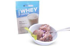 Country Life BioChem chocolate whey protein powder as a yummy ice cream like dessert :)