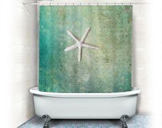 "Starfish Shower Curtain ""Single Starfish"" ocean,beach,teal home decor,seashore,summer,coastal bath decor, turquoise"