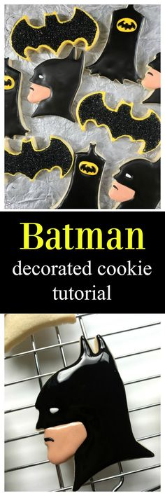 Easy Batman Decorated Sugar Cookie tutorial and video by Sweet Jenny Belle