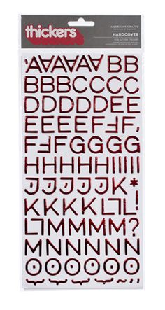 American Crafts - Thickers - Foil Chipboard Alphabet Stickers - Hardcover - Rouge at Scrapbook.com $4.99
