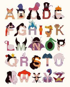 Alphabet Disney villains Cross Stitch Alphabet Disney Pattern abc pattern ponto de cruz needlepoint x Cross Stitch Alphabet, Cross Stitch Patterns, Alfabeto Disney, Disney Alphabet, Pixel Drawing, Disney Classroom, Disney Stitch, Cool Lettering, Pattern Pictures