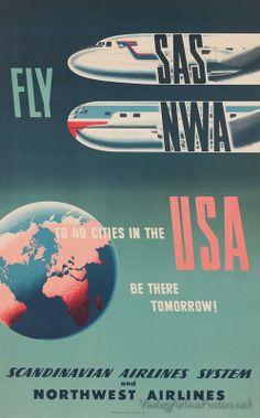 US Tourism - SAS and Northwest Airlines - Cooperative Marketing Venture - Vintage Travel Poster