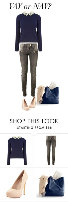 """""""Yay or Nay?"""" by ella178 ❤ liked on Polyvore featuring Oasis, Balmain, Charles by Charles David, Pumps, lace, scarf and dyejeans"""