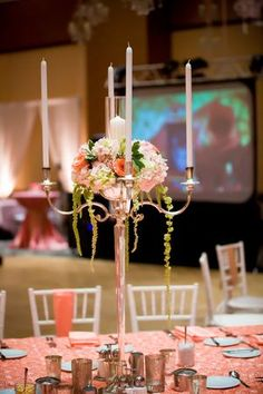 Shabby chic candle centerpiece at a Bat Mitzvah {Photo by LunahZon Photography}
