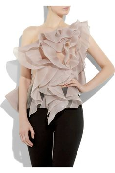 Ruffled sheer organza top (front)