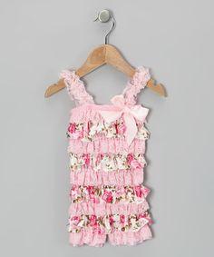 845181188e9a Pink Leopard Lace Romper   Flower Clip - Infant   Toddler