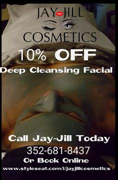 Love the skin you're in & Get a facial !!! 3 Facial  slots available today starting at 1pm.   Valid thru Jan 1, 2018 at midnight for Facial & Bacial Services ONLY!!   Book your next appointment with me on StyleSeat. It's super easy! styleseat.com/i/JayJillCosmetics #styleseat #jayjillcosmetics