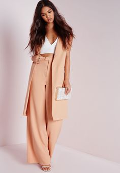 Missguided - High Waisted Crepe Wide Leg Trousers Nude