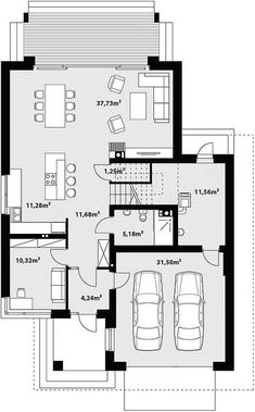 Free House Plans, House Plans One Story, House Floor Plans, Small Modern House Plans, Beautiful House Plans, Circle House, Villa Plan, Architect House, Architecture Plan