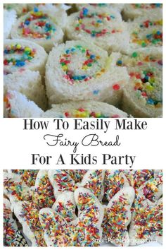 Fairy bread is an easy food that can be prepared for a kid's party. It is incredibly easy to organize, the kids love it, and it will be a hit party food. This is a total win win when it comes to catering for children's birthday parties. Fairy Birthday Party, Birthday Parties, Parties Kids, 5th Birthday, Birthday Party Food For Kids, Birthday Ideas, Fairy Tea Party Food, Party Food For Toddlers, Indoor Birthday