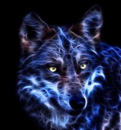 blue fractal wolf