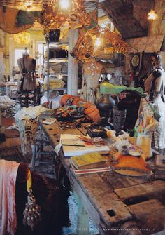 Love this. Messy but beautiful Where Women Create - Robin Brown's home.  Magnolia Pearl
