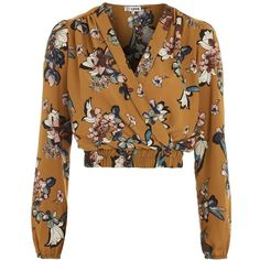 V-Neck Long Sleeve Crop Top by Love (115 BRL) ❤ liked on Polyvore featuring tops, blouses, yellow, brown crop top, floral tops, floral crop top, brown top and long sleeve tops
