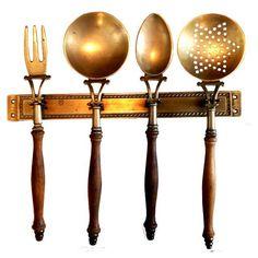 $99 Image of Antique Italian Brass & Wood Kitchen Utensil Set
