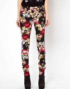 Tripp NYC Rose Embroidery Printed Skinny Jeans - I actually love these!