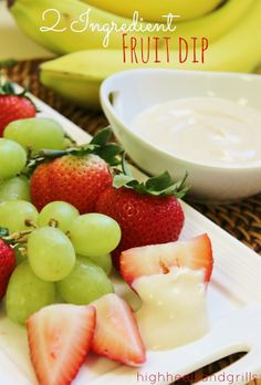 This fruit dip requires only 2 ingredients and it tastes amazing. Try it. Now. http://www.highheelsandgrills.com/2013/04/2-ingredient-fruit-dip.html