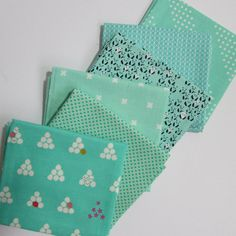 Turquoise Colour Inspiration  Cotton Fabric Fat by TheFabricFoxUK