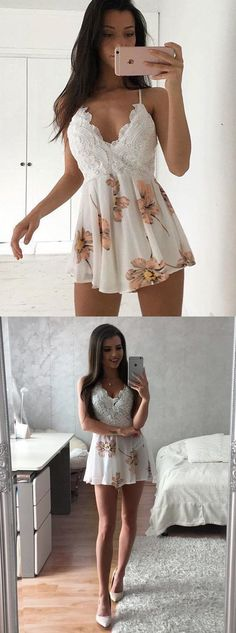 A-Line High Neck Short Sleeves Above-Knee White Lace Homecoming Dress by Hiprom, $126.00 USD
