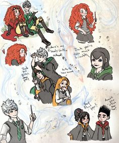 Hogwarts : disney and dreamworks characters Disney Hogwarts, Harry Potter Disney, Merida Disney, Rapunzel, Arte Disney, Disney Fan Art, Jack Frost, Disney And Dreamworks, Disney Pixar