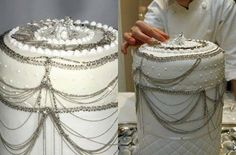 A wedding cake literally decorated with platinum jewelry — don't eat the decorations Dark Chocolate Cakes, Chocolate Flavors, Champagne Jelly, Smoky Eye Tutorial, Cake Day, Eat Cake, Platinum Wedding, Platinum Jewelry, Most Expensive
