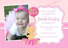1st Birthday Invitation Photo Tutu Princess  - DIY Print Your Own - Matching Party Printables Available